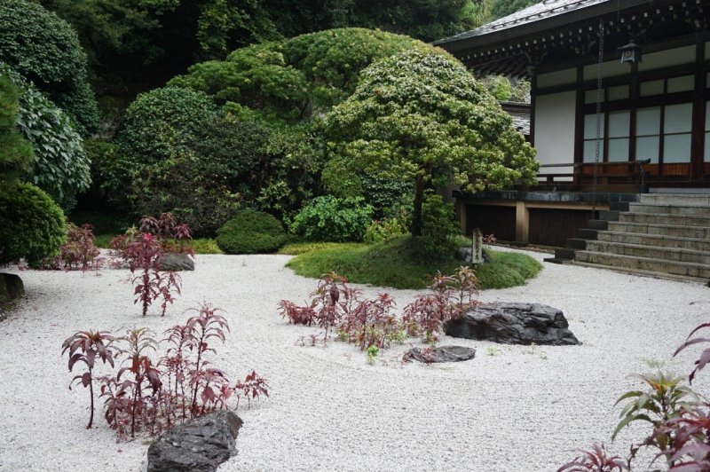 Dry garden is typical to the Zen Buddhism Temple