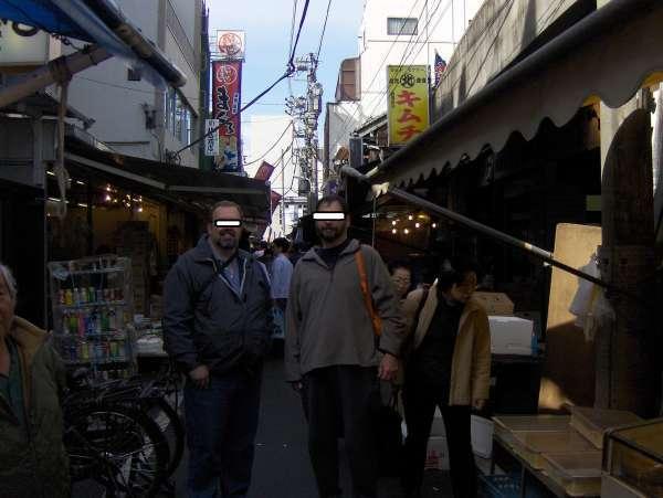 Tsukiji chaotic food market.