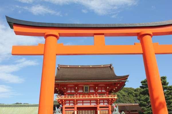The Big Torii gate and Romon gate In Fushimi Inari Shrine.
