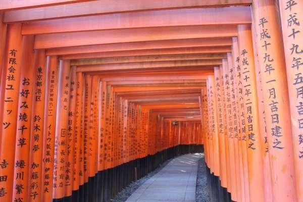 The 1000 Trii-gates in Fushimi Inari shrine.