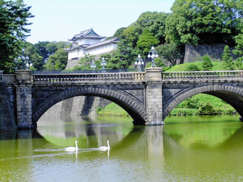 Moats and Nizyubashi Bridge which are located in front of the main gate of Imperial Palace.
