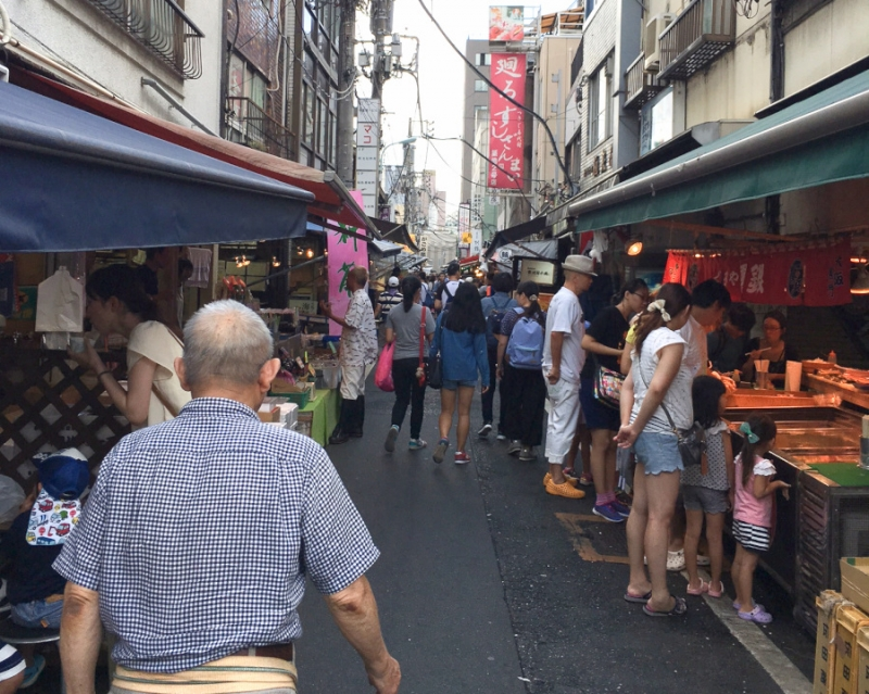 Tsukiji Outer Market, a paradise for sushi lovers.  It's always full of energy with fresh sea food shoppers.