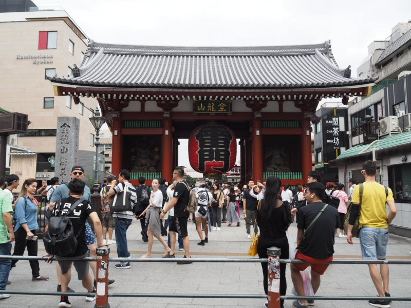 Kaminari-mon Gate, the entrance of Senso-ji Temple in Asakusa.  The giant red lantern is a symbol in this district and a popular photo spot today.