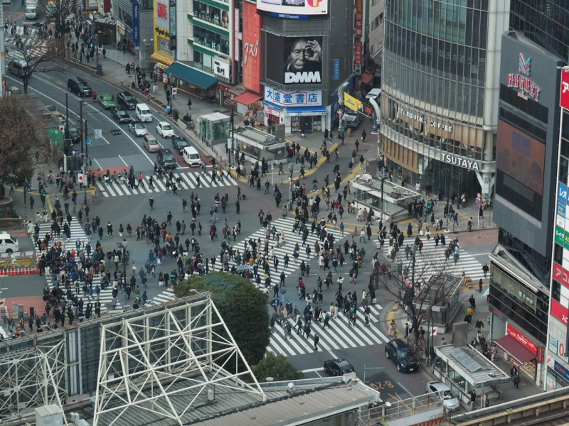 Shibuya Crossing.  The number of people are usually far more than this.