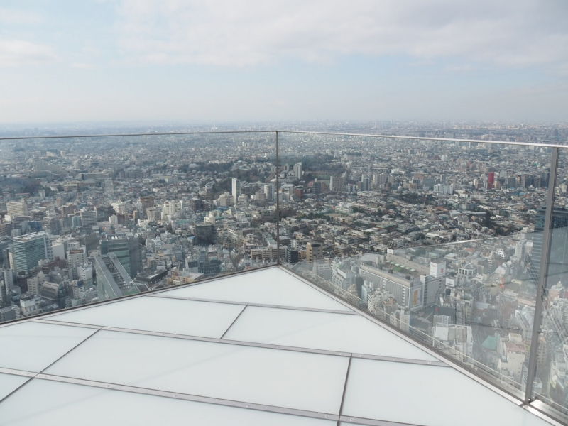 Shibuya Sky, an open-air sky deck on the top of a high-rise with 200 meters high.  You can look over the vast urban area.