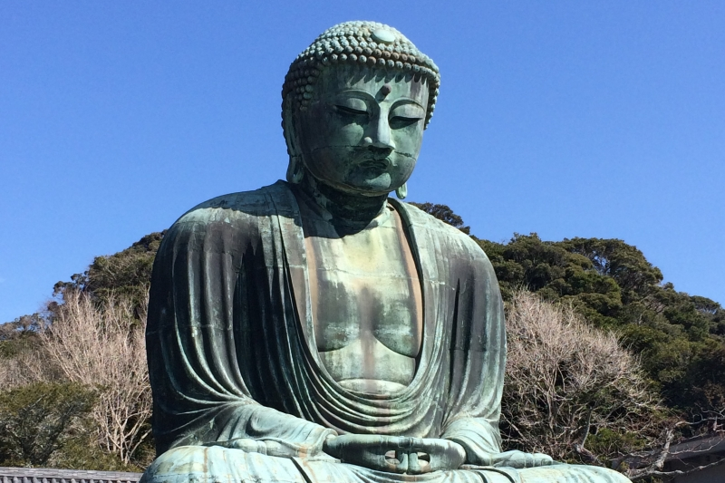 Great Buddha in Kotokuin Temple.  This is a national treasure and the second largest statue of Buddha in Japan with 12 meters tall and 121 tons in weight.