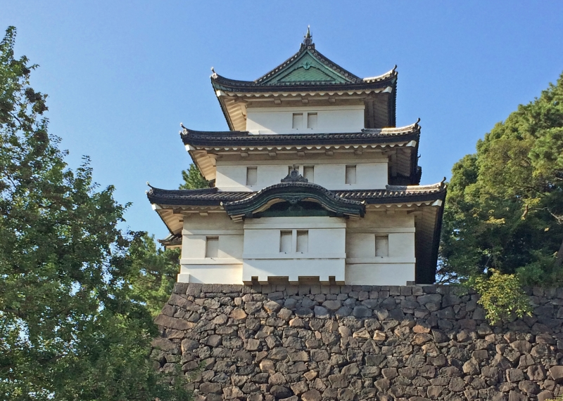 Fujimi-yagura keep in Edo castle : This is a three storied keep, reconstructed in 1659, and is one of the oldest remains in Edo castle.