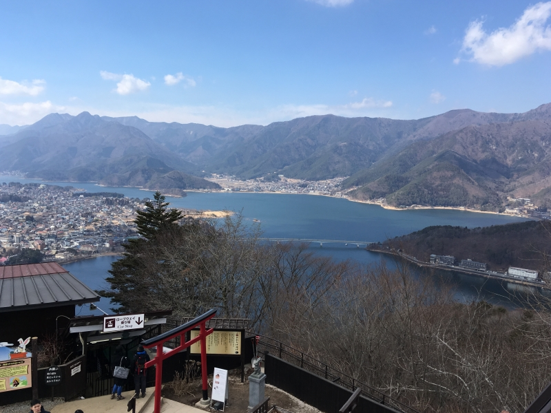 Lake Kawaguchi from the top station of Mt. Kachikachi ropeway.