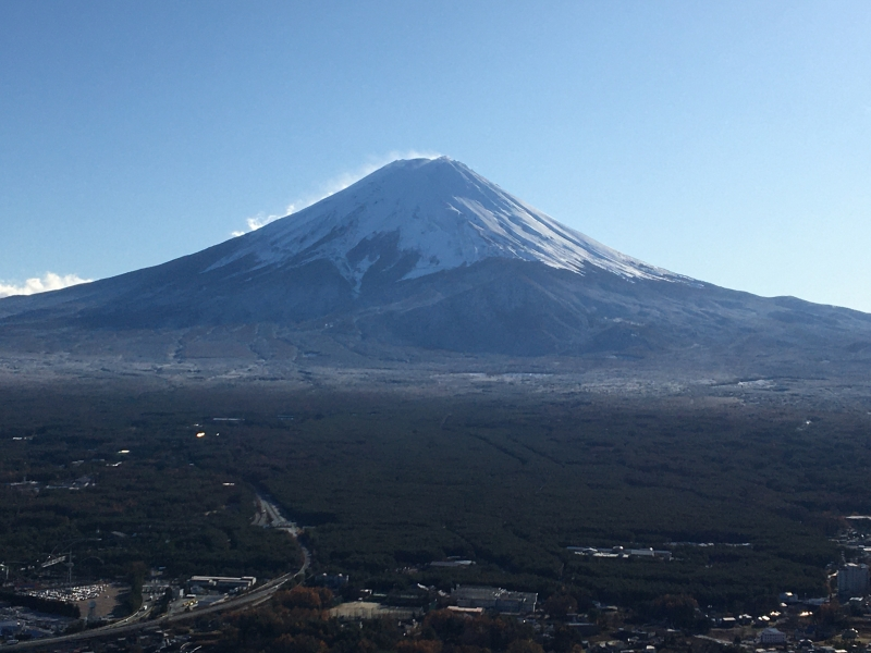Mt. Fuji from the top station of Mt. Kachikachi ropeway.