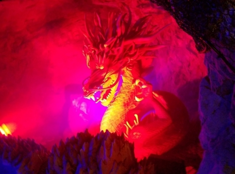 The dragon roars in the cave