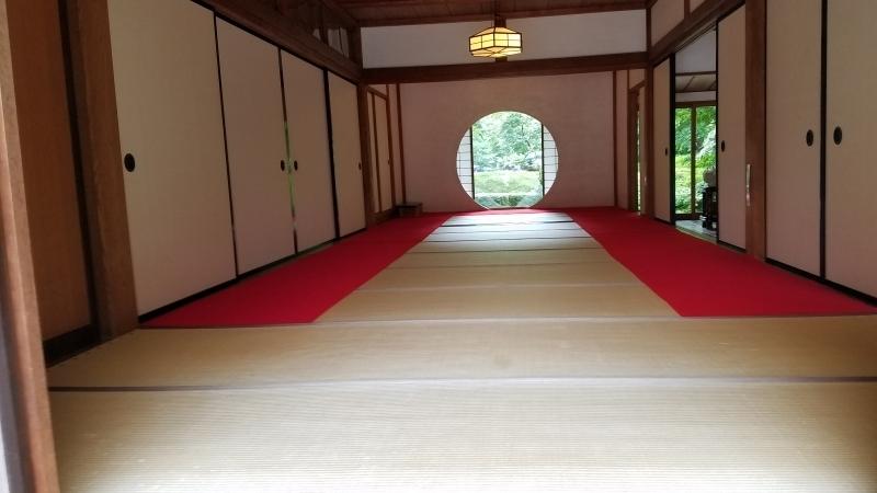 Meigetsu-in's 'Round Window' in the sanctuary of Zen temple.