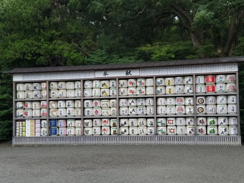 Sake barrels donated  to the shrine