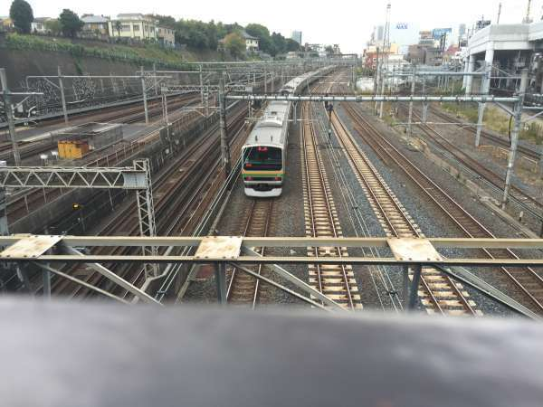 From the train bridge in front of Nippori station