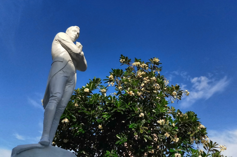 Sir Stamford Raffles in a pensive mood