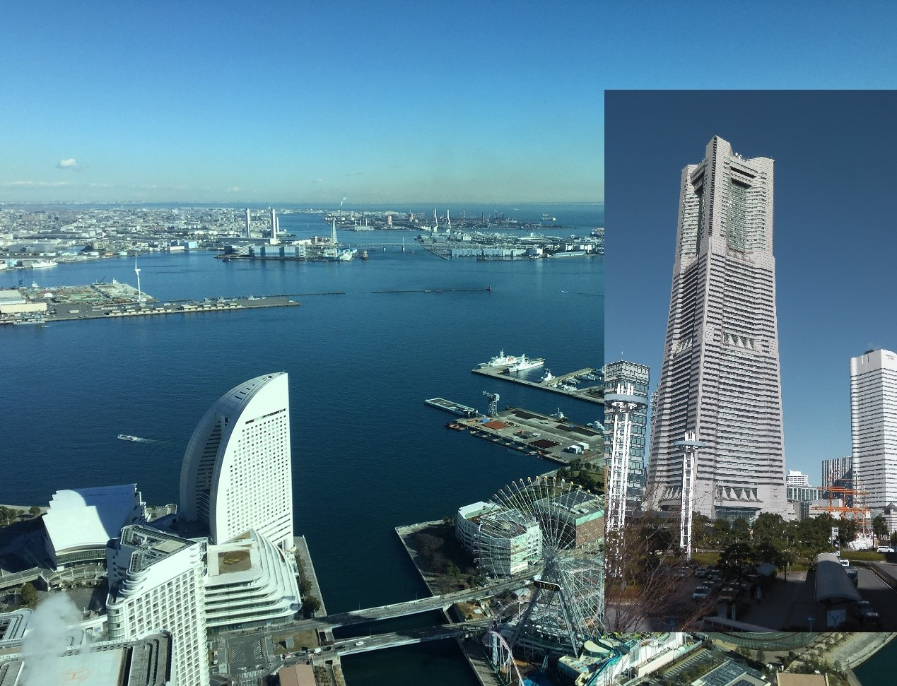 Landmark Tower, 300 m tall with great view of Yokohama Bay