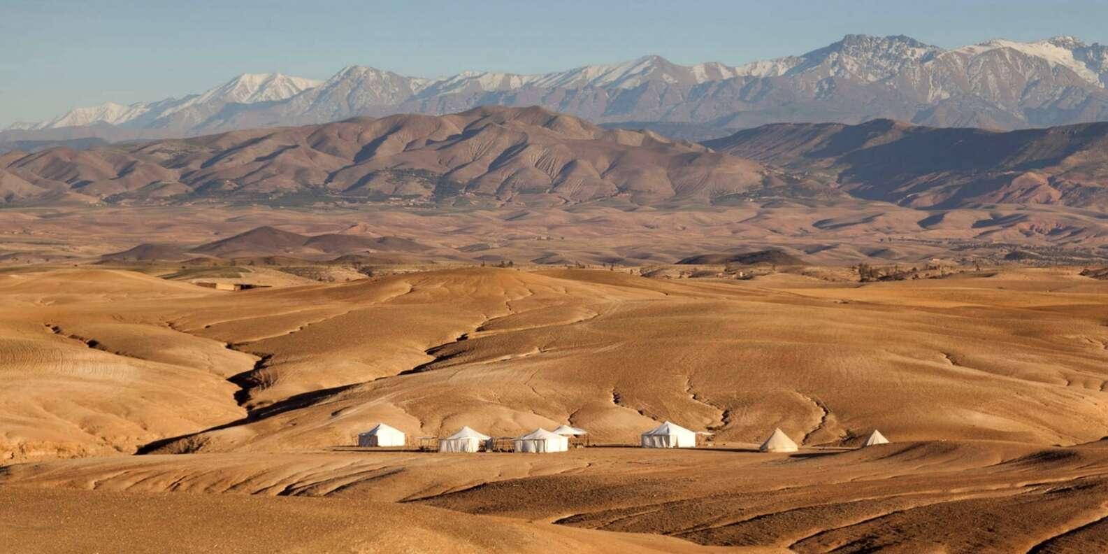 desert agafay and atlas mountains