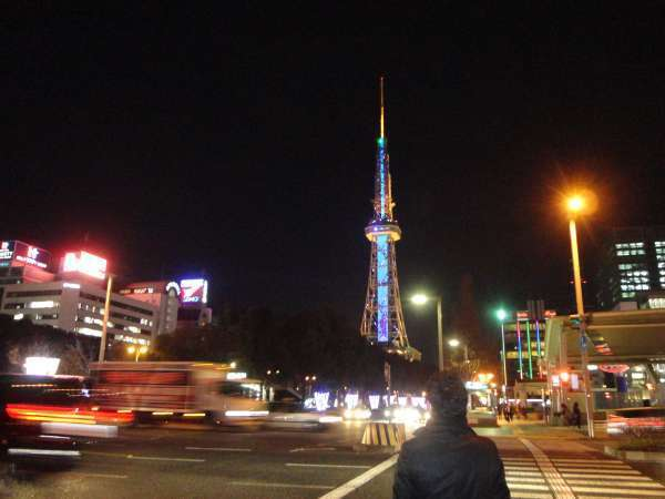 Night View of Nagoya TV Tower viewed from Oasis21