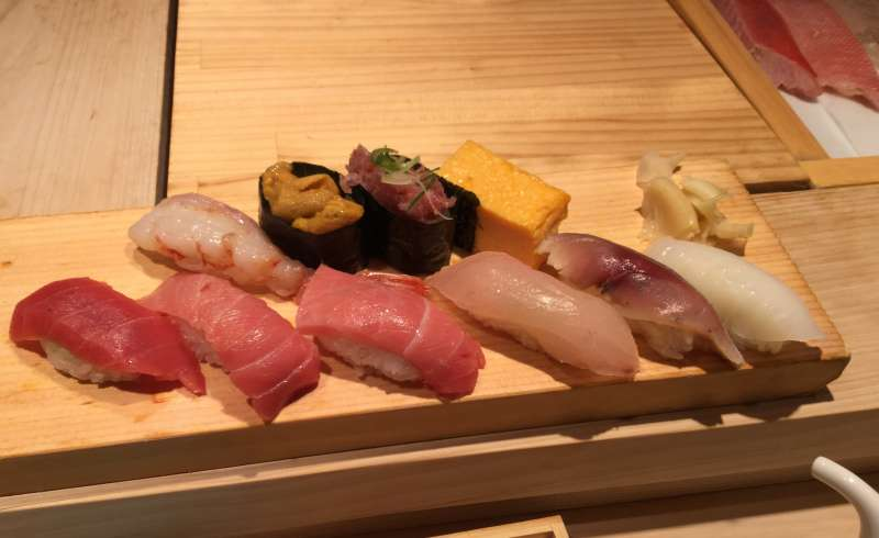 S1. Tsukiji Outer Market (Nigiri sushi set with 2,000 to 3,000 JPY, cash only)