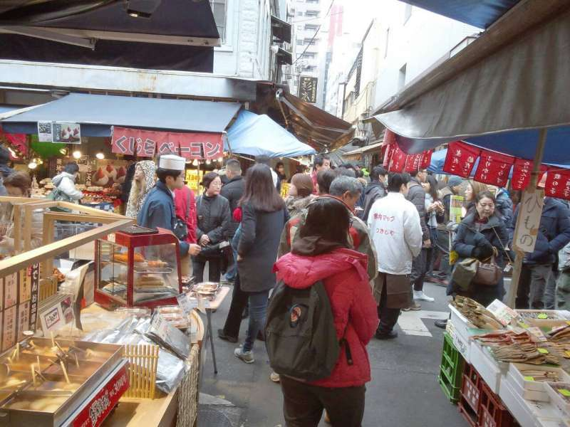 Hustle and bustle of Tsukiji Market
