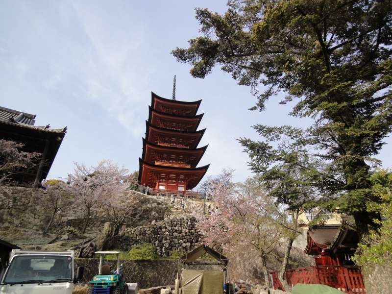 Five-storied Pagoda shows a beautiful fusion of Japanese and Chinese architecture styles.