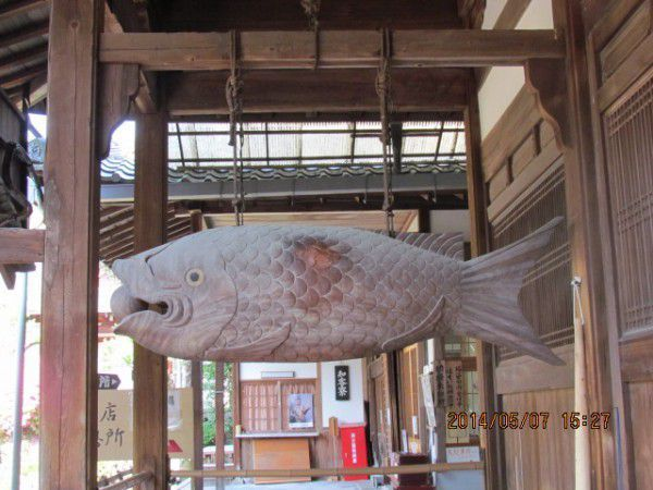 SAIDO (Dining Hall)   The wood carving of a large fish hangs in front of the Saido.