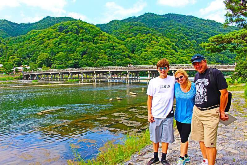 Togetsu Bridge and Arashiyama. The landmark of Arashiyama district.