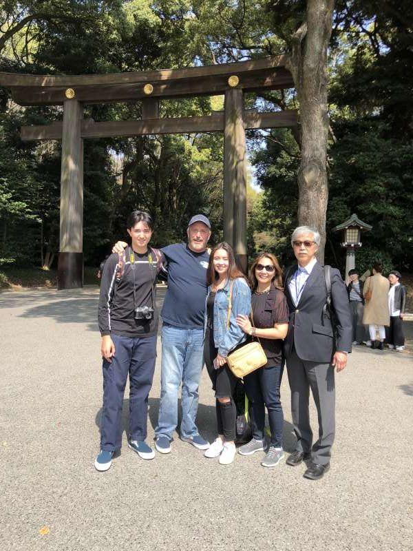 Lovely family from the US, in front of Meiji Shrine