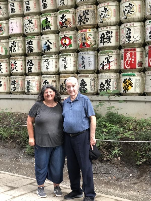 Many sake barrels, typical scene in Shinto Shrine