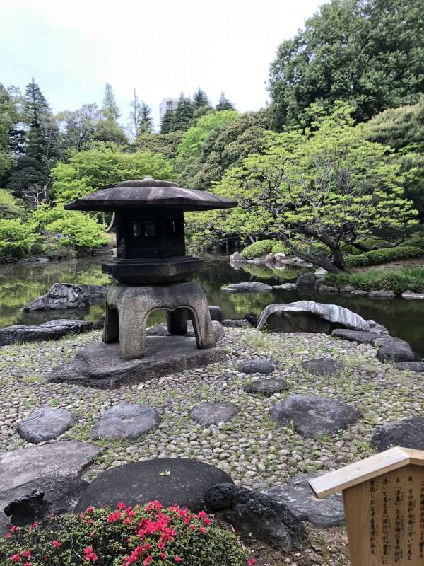 Japanese garden.  This large stone lantern creates deeper atmosphere in quiet space.