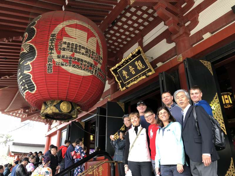 Two families from the US in front of the Main Hall at Asakusa Sensoji Temple.