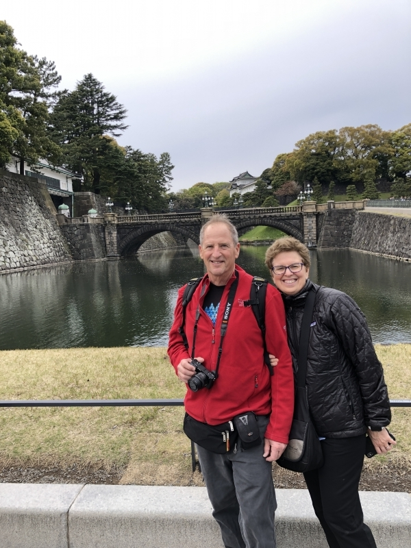 A lovely couple from Santa Barbara in the US in front of Nijubashi-Bridge, Imperial Palace