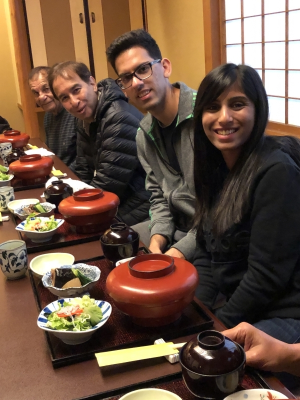 Friendly family from Toronto in a Japanese style restaurant