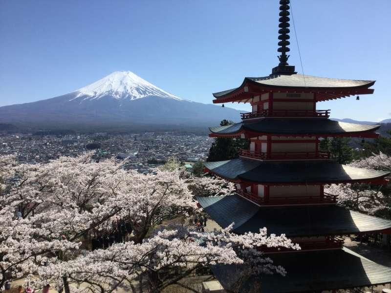 Arakura-Yama Park: Popular view of Mt. Fuji with its five-story pagoda (Optional)