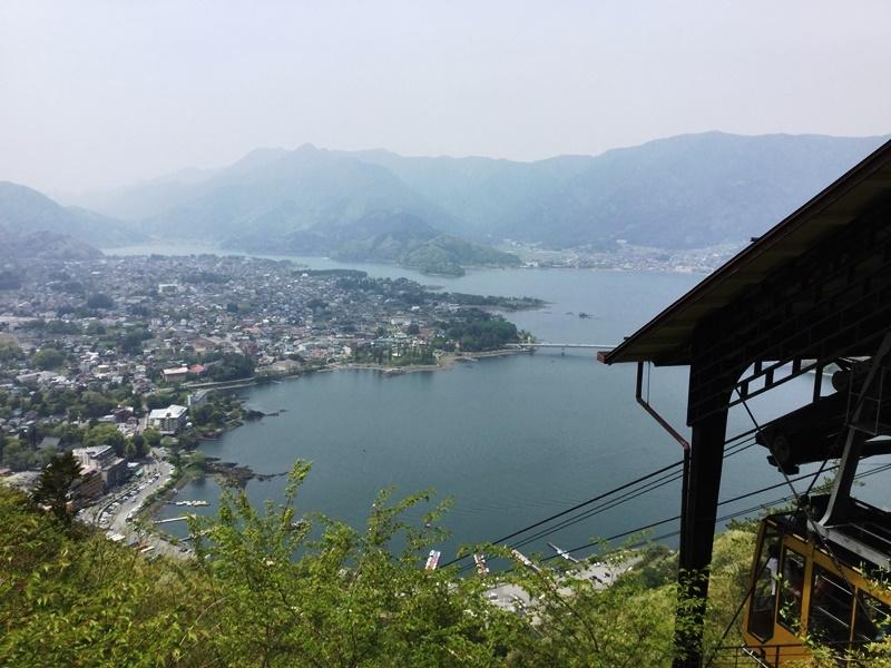 Mt. Kachi-Kachi ropeway with the view of Lake Kawaguchi from the station
