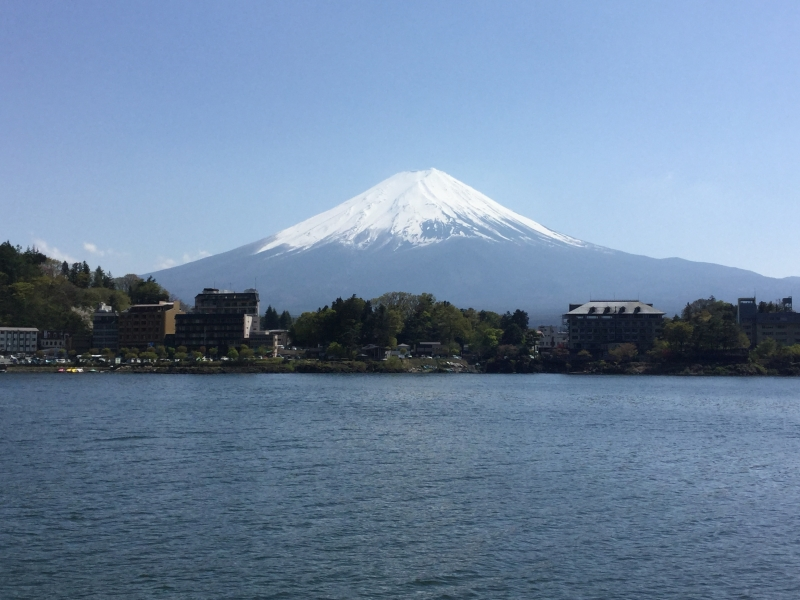 Lake Kawaguchi cruise (a view of Mt. Fuji from the cruising boat)