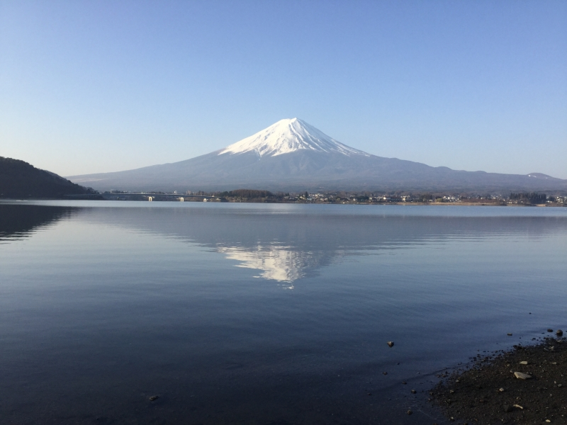 Mirror of Mt. Fuji (Available only in a very quiet morning. You have to stay near the lake.)