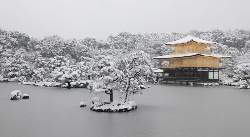 Kinkakuji golden pavilion in the snow.