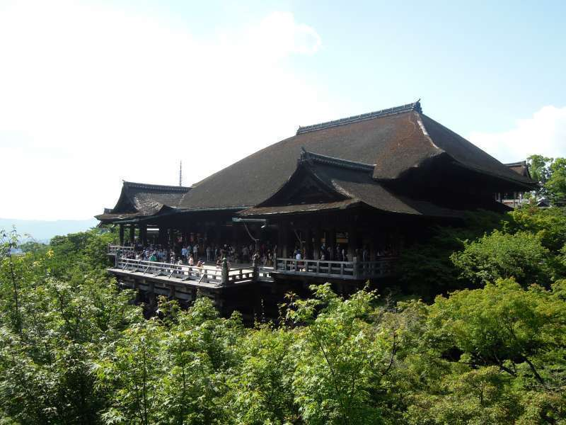 Kiyomizu Temple with a veranda jutting out on the hillside.