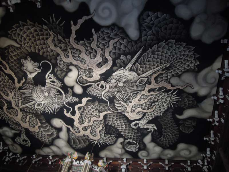 The Twin Dragon Painting drawn by Koizumi Jun on the ceiling of Hatto ( Lecture Hall ) of Ken-ninji Temple, the oldest Zen temple in Kyoto