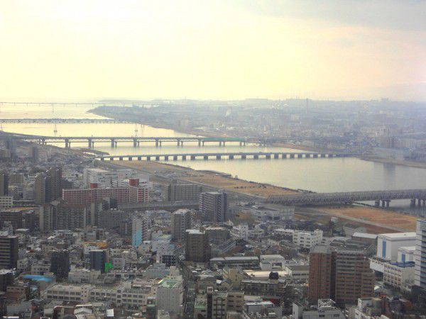 Yodo River and Osaka Bay viewed from the observatory deck at Umeda Sky Building