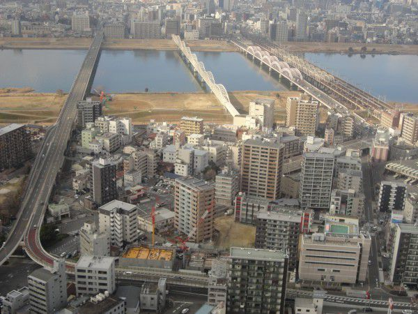 Yodo River viewed from the observatory deck at Umeda Sky Building