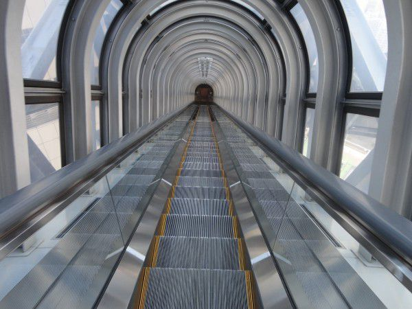 The escalator of the rooftop at Umeda Sky Building