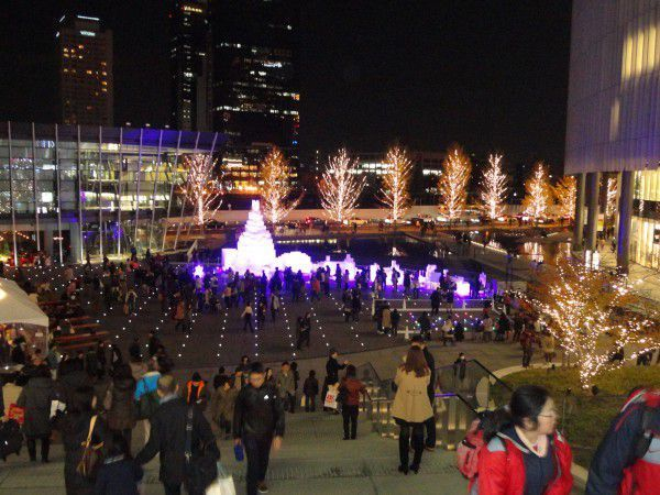Umekita space in front of the Grand Front Osaka during Christmas season