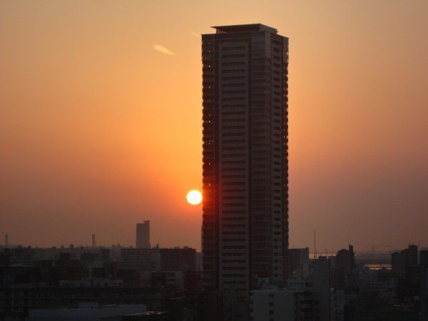 The sunset from Grand Front Osaka