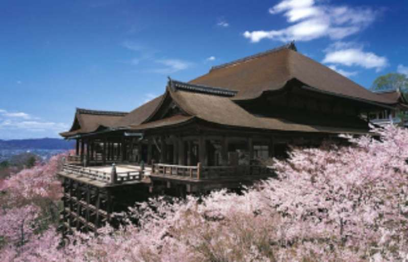 Kiyomizudera Temple and the Main Hall, famous for its platform projecting over a cliff