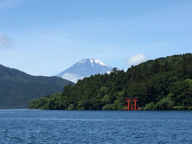 Cruising Lake Ashi (Mt Fuji from Lake Ashi)