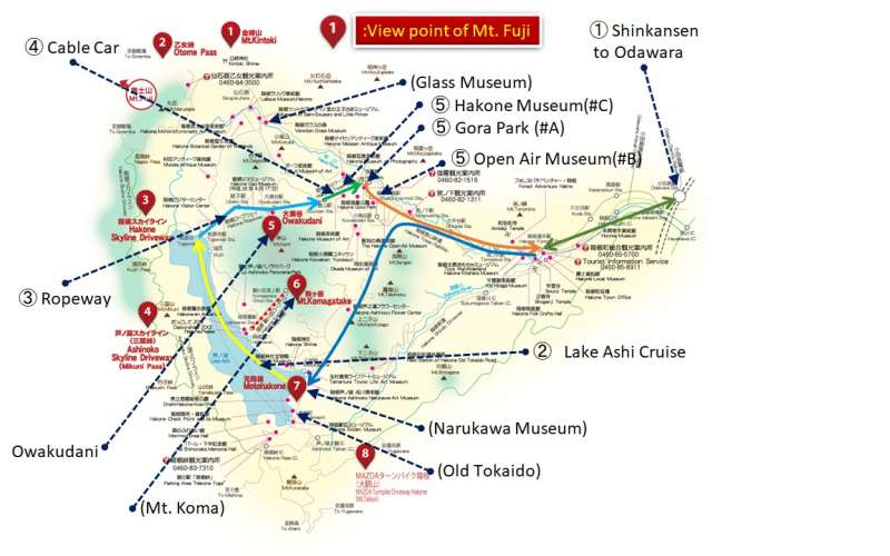 0. Standard route of Hakone tour and Mt. Fuji view points
