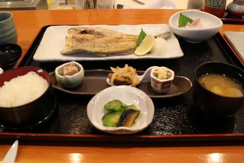 Sea food lunch in a Japanese restaurant