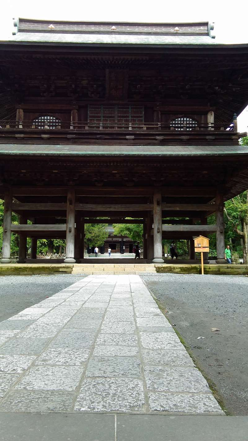 After climbing up the stairs , you can enter a solemn Zen Buddhist Temple, Engakuji.