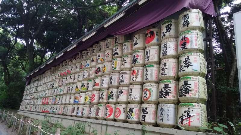 Sake barrel in Meiji Shrine
